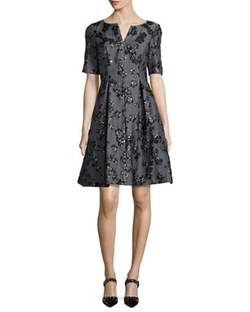 Floral Jacquard Half-Sleeve Dress by Lela Rose in Scandal