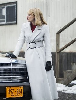 Custom Made Wide Shoulder Belted Trench Coat (Anna Morales) by Armani & Kasia Walicka-Maimone (Costume Designer) in A Most Violent Year