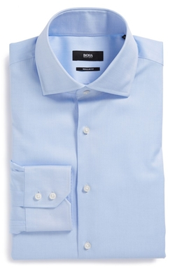 'Gerald' WW Regular Fit Solid Dress Shirt by Boss Hugo Boss in Blackhat