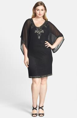 Embellished Kimono Sleeve Cocktail Dress by J Kara in Get On Up