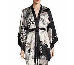 Yuzen Floral-Print Silk Wrap Robe by Josie Natori in Power