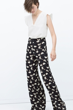 Printed Bell Bottom Trousers by Zara in Elementary