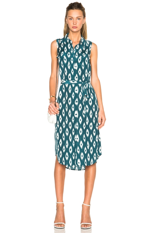 Tegan Ikat Print Silk Shirtdress by Equipment in Mistresses - Season 4 Episode 5