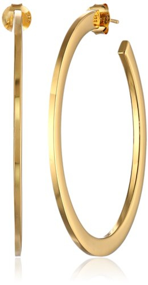 Gold-Tone Large Flat Hoop Earrings by Argento Vivo in Mean Girls