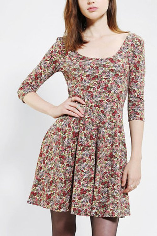 3/4 Sleeve Knit Skater Dress by Sparkle & Fade in The Best of Me