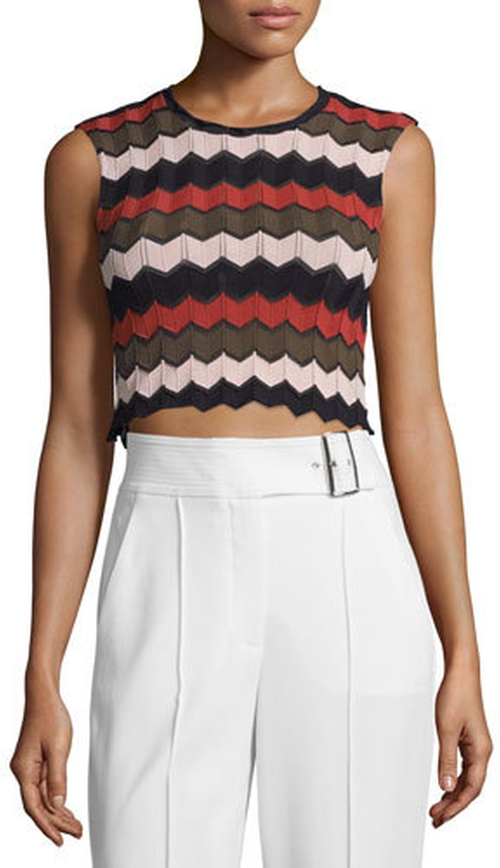 Leo Sleeveless Zigzag Crop Top by A.L.C. in Pretty Little Liars - Season 7 Episode 4