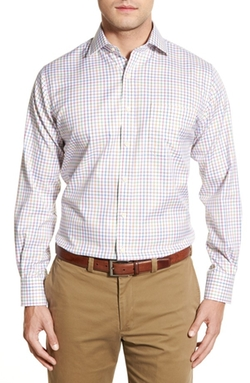 'Nanoluxe' Regular Fit Check Twill Sport Shirt by Peter Millar in Modern Family
