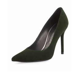 Nouveau Suede Pointed-Toe Pumps by Stuart Weitzman in Chelsea