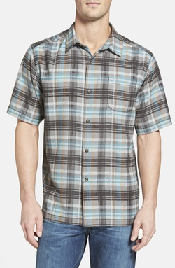 'Pool Time Plaid' Island Modern Fit Short Sleeve Sport Shirt by Tommy Bahama in Modern Family