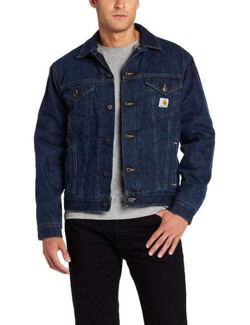 Men's Sherpa Lined Denim Jean Jacket by Carhartt in If I Stay