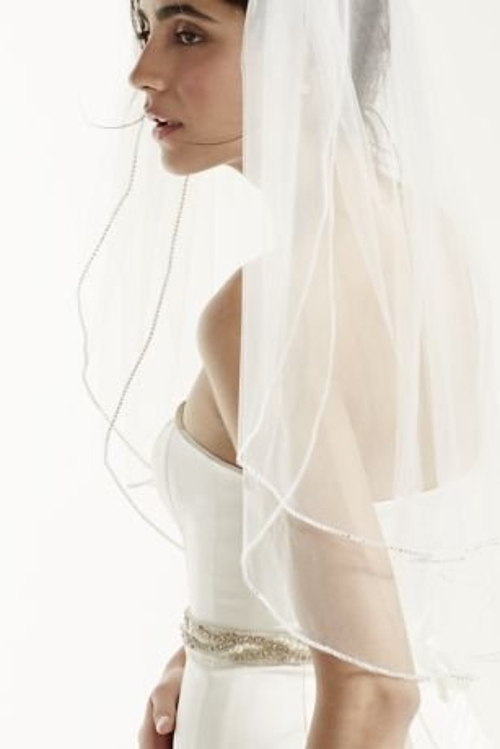 Sparkling Rhinestone Edged Mid Veil by David's Bridal in The Hangover
