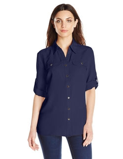 Petite Y-Neck Blouse by Notations in The Blacklist