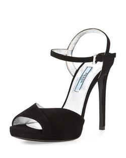 Peep-Toe Ankle-Strap Sandals by Prada in Ballers