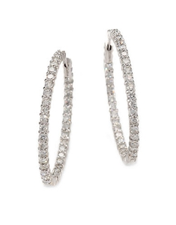 Diamond And White Gold Hoop Earrings by Roberto Coin in Mariah's World