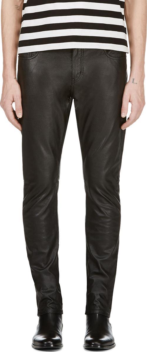 Black Faux Leather Jean Cut Pants by Saint Laurent in Hot Tub Time Machine 2