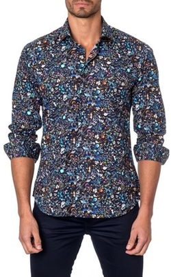 Trim Fit Floral Print Sport Shirt by Jared Lang in Speechless