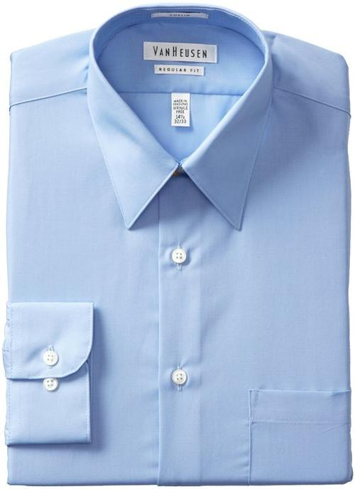 Regular-Fit Poplin Dress Shirt by Van Heusen in Ride Along