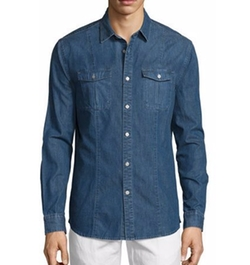 Ryan Western-Style Denim Shirt by True Religion in Logan