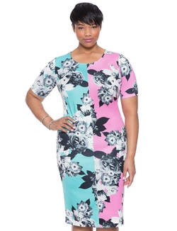 Two Tone Printed Dress by Eloquii in Empire