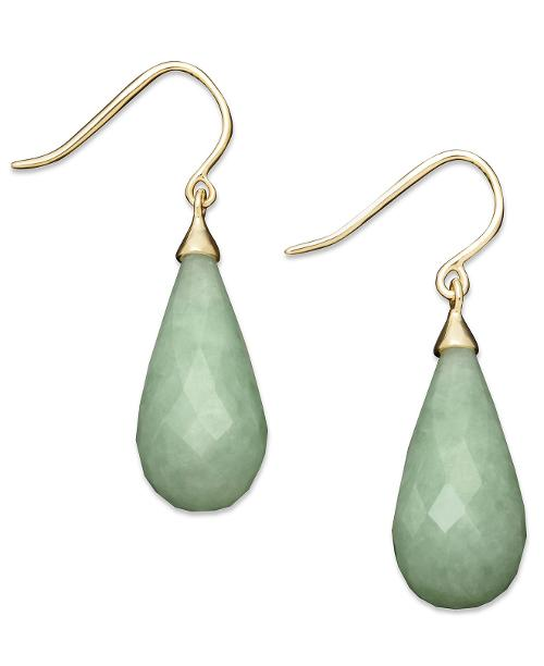 14k Gold Earrings, Jade Teardrop Earrings by MACY'S FINE JEWELRY TREATMENT & CARE in Walk of Shame