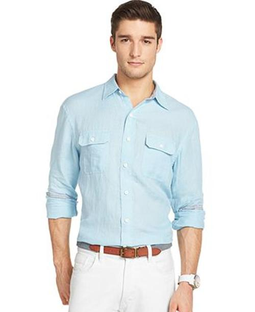 Long Sleeve Solid Linen Shirt by Izod in Yves Saint Laurent