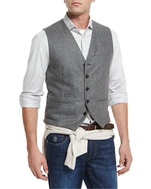 Flannel Wool Waistcoat by Brunello Cucinelli in Guilt - Season 1 Episode 3