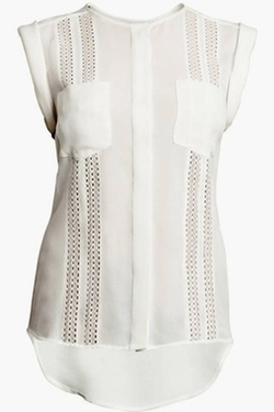 Sleeve Less Lace Inset Blouse by Veronica Beard in That Awkward Moment