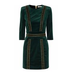 Embellished Stretch Cotton Blend Velvet Mini Dress by Pierre Balmain in Empire