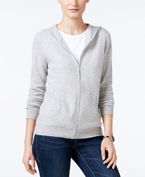 Cashmere Zip-Front Hoodie by Charter Club in Into the Forest