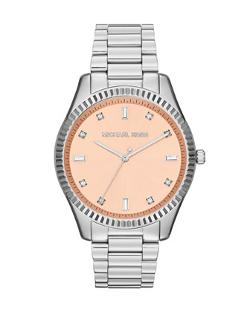 Silver Color Stainless Steel Blake Three-Hand Glitz Watch by Michael Kors in About Last Night