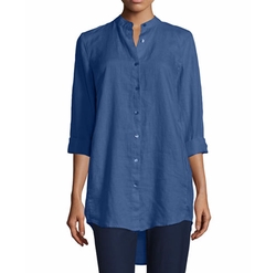 Organic Linen Long-Sleeve Tunic Shirt by Eileen Fisher in Silicon Valley