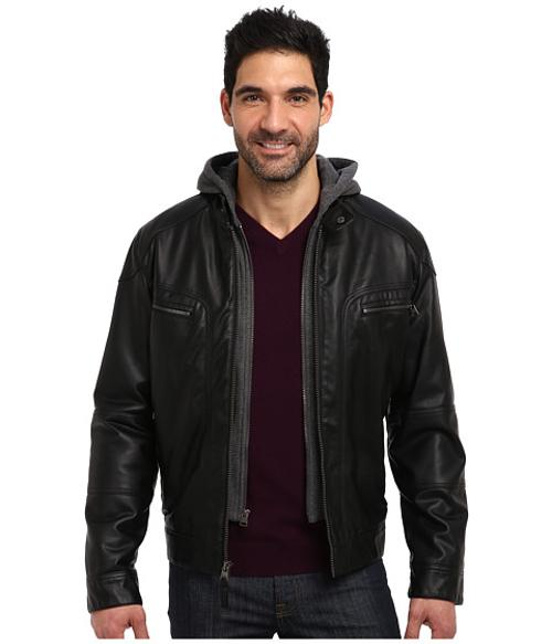 Faux Leather Bomber Jacket w/ Knit Hood by Calvin Klein in Contraband