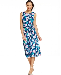 Floral-Print Belted Midi Dress by Charter Club in Trainwreck
