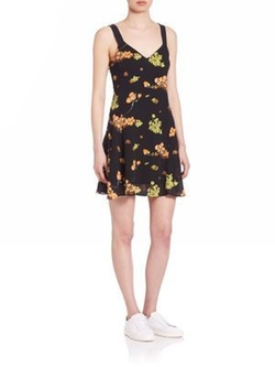 Serena Floral Silk Dress by A.L.C. in Mr. Robot