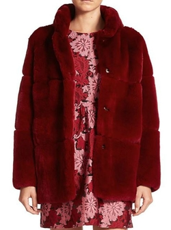 Quark Hooded Rabbit Fur Coat by P.A.R.O.S.H. in Scream Queens