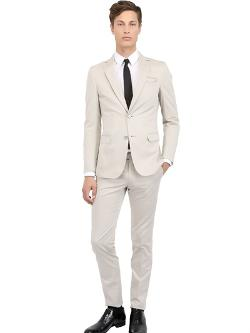 Cotton Satin Slim Fit Suit by Zzegna in Mortdecai