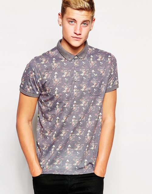 All Over Floral Print Polo Shirt  by Bellfield  in Crazy, Stupid, Love.