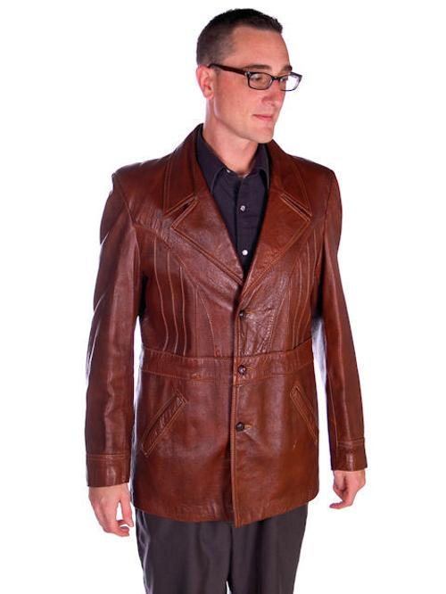 Vintage Mens Grais Angel Skin Leather Mod Jacket Beltback Blazer 1970s by Grais in Anchorman 2: The Legend Continues