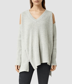 Able Open Shoulder Sweater by All Saints in Guilt