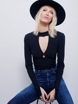 Double Dot Turtle Neck Top by Free People in The Flash