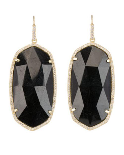 Large Pave-Trim Black Tourmaline Drop Earrings by Kendra Scott Luxe in Beyond the Lights