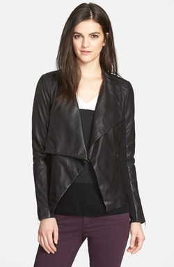 Drape Collar Leather Jacket by Trouvé in The Bachelorette