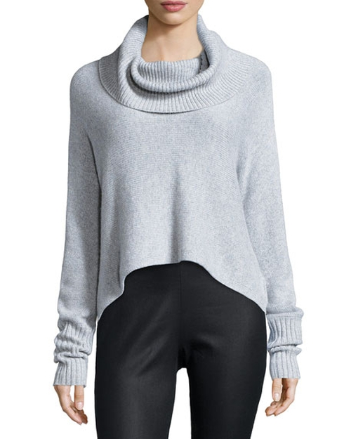 Lofty Cashmere Cowl-Neck Box Top by Eileen Fisher in Keeping Up With The Kardashians - Season 11 Episode 13