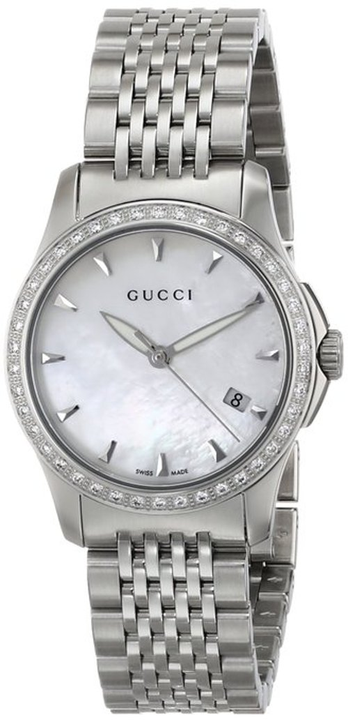 Women's G-Timeless Diamond Bezel MOP Dial Watch by Gucci in Focus