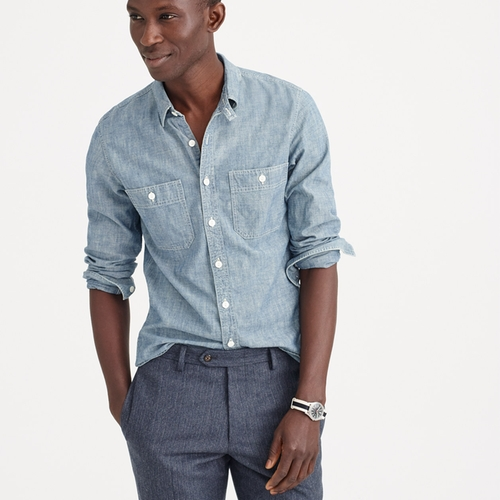 Selvedge Japanese Chambray Utility Shirt by J. Crew in The Flash - Season 2 Episode 7