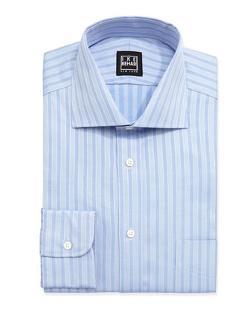 Long-Sleeve Striped Poplin Dress Shirt by Ike Behar in No Strings Attached