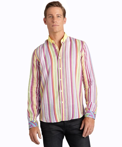 Stripe Linen 'Arles' Dress Shirt by Etro in Rosewood