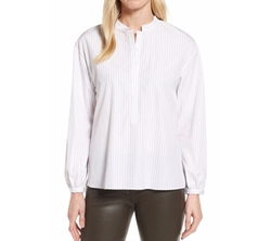 Stripe High/Low Shirt by Nordstrom Signature in Jack Ryan