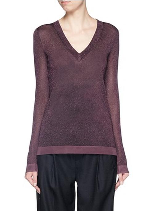 Marie Lurex Knit V Neck Sweater by Rag & Bone in Arrow - Season 4 Episode 15