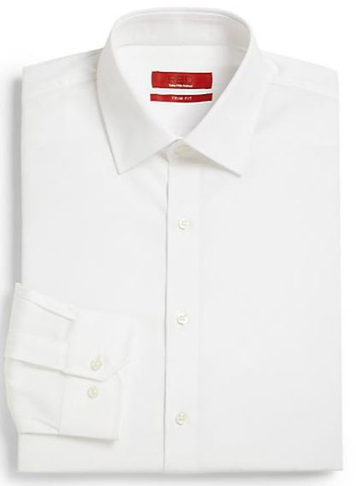 Trim Fit Button Front Shirt by Saks Fifth Avenue RED in (500) Days of Summer